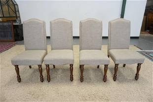 GROUP OF 4 UPHOLSTERED ARM CHAIRS