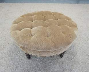 LARGE ROUND TUFTED UPHOLSTERED OTTOMAN