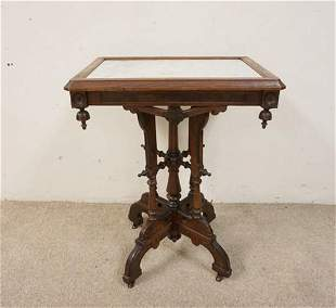 VICTORIAN INSET MARBLE TOP TABLE