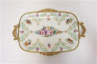 LIMOGES BRASS MOUNTED TRAY