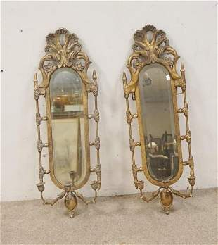 PR OF MIRROR BACK CANDLE SCONCES