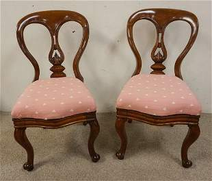 PR OF ANTIQUE VICTORIAN BALLOON BACK SIDE CHAIRS