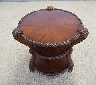 UNUSUAL CARVED SCROLL SIDE 3 TIER TABLE