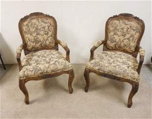 PR OF UPHOLSTERED CARVED CENTURY ARM CHAIRS