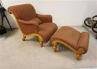 UPHOLSTERED ETHAN ALLEN CURVED CHAIR AND STOOL