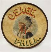 ANTIQUE INDIAN CHIEF LRG HAND PAINTED DRUM HEAD