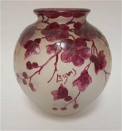 LEGRAS BULBOUS CAMEO ART GLASS VASE