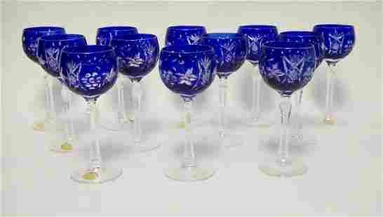 SET OF 12 CRYSTAL GOBLETS COBALT BLUE CUT TO CLEAR