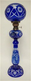 COBALT BLUE CUT TO CLEAR KEROSENE LAMP
