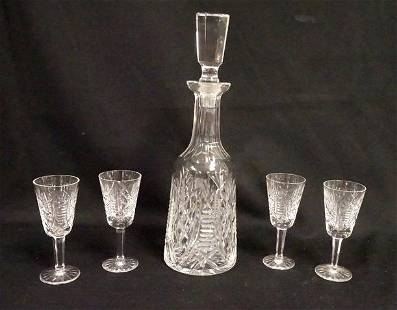 WATERFORD CRYSTAL 5 PIECE WHISKEY SET