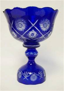 COLBALT BLUE CUT TO CLEAR CRYSTAL COMPOTE