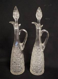 PAIR OF AMERICAN BRILLIANT CUT TALL DECANTERS