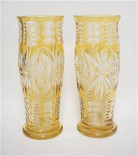 PAIR OF AMBER CUT TO CLEAR TALL VASES