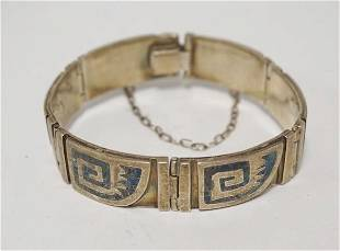MEXICAN STERLING SILVER BRACELET WITH BLUE TURQUOISE