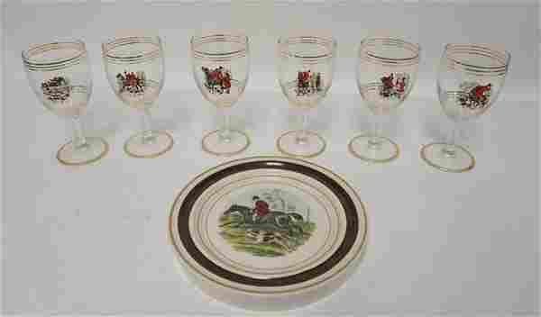 STAFFORDSHIRE HOT PLATE & 6 GOBLETS
