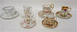 GROUP OF 6 DECORATED CUP & SAUCER SETS