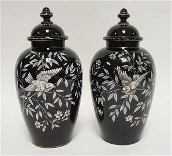 PAIR OF BLACK AMETHYST HAND PAINTED COVERED URNS