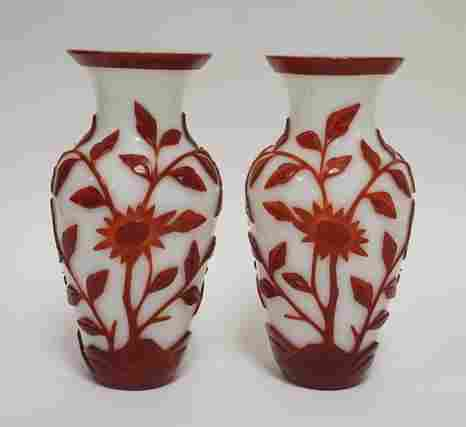 PAIR OF RED OVER WHITE CHINESE CAMEO VASES