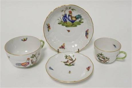 2 HEREND CUP & SAUCER SETS