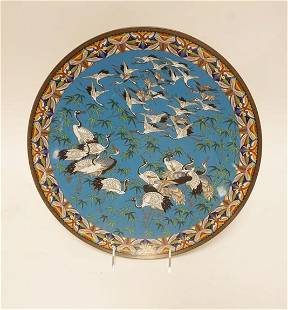 CLOISONNE CHARGER W/CRANES IN FLIGHT