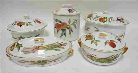 5 ROYAL WORCESTER EVESHAM COVERED PIECES