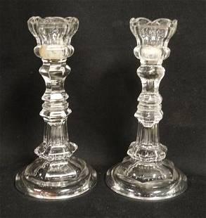 PAIR OF FLINT GLASS TULIP TOP CANDLESTICKS