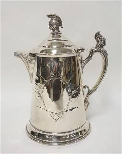 SILVER PLATED LIDDED PITCHER W/KNIGHT HEADS