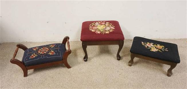 GROUP OF 3 UPHOLSTERED FOOT STOOLS