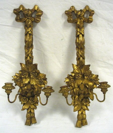 """9: CARVED GILTWOOD SCONCES, PAIR, ITALIAN, 21 1/2"""" HIGH"""
