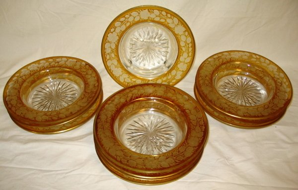 14: AMBER STAINED CUT TO CLEAR BLOWN GLASS SOUP BOWLS;