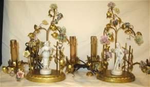 307 GILT BRONZE  PORCELAIN 2 LIGHT TABLE LAMPS WPORC