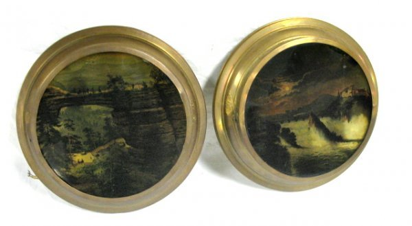 PAIR OF LIGHTED WALL PLAQUES