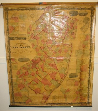 1860 WALL MAP OF NEW JERSEY, WILLIAM KITCHELL