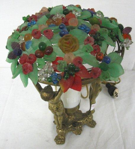 ART DECO NUDE LADY LAMP W/GLASS FRUIT SHADE