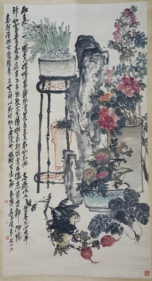 Large Chinese Scroll Painting,Wu Changshuo(1844-1927)