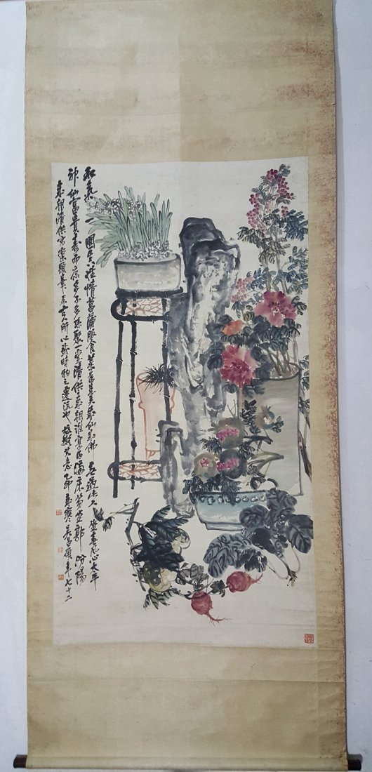 Large Chinese Scroll Painting,Wu Changshuo(1844-1927) - 9