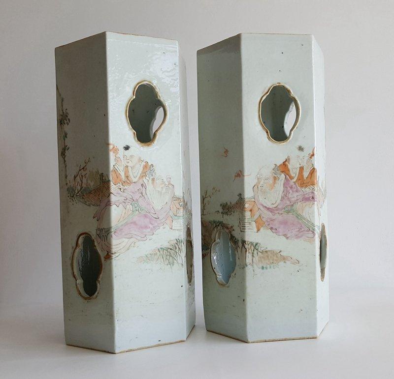 Pair Antique Chinese Qiangjiang Color Porcelain Vases