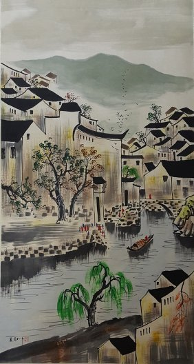 Large Chinese Scroll Painting,Wu Guanzhong (1919-2010)