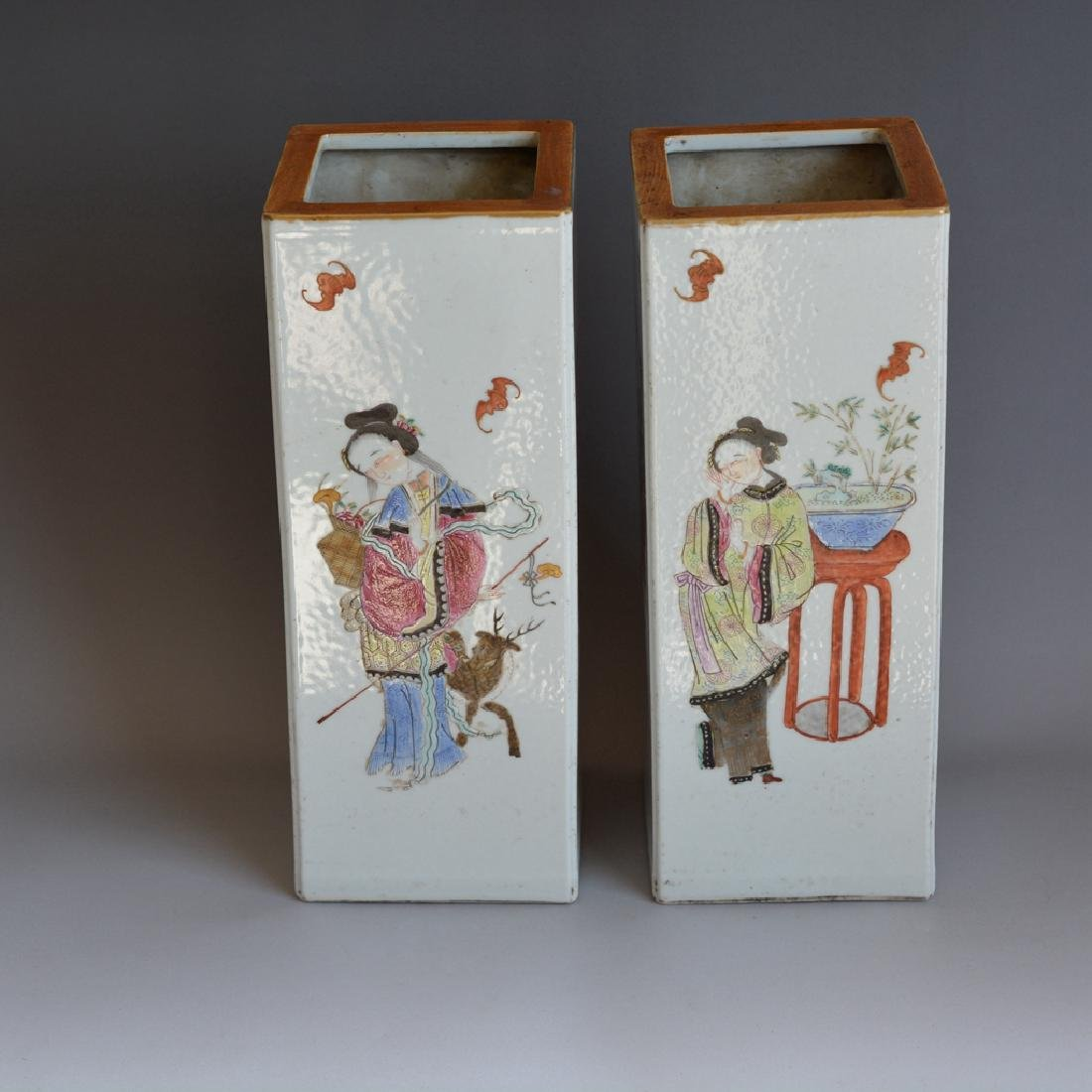 Pair Antique Chinese Porcelain Famille Rose Vases