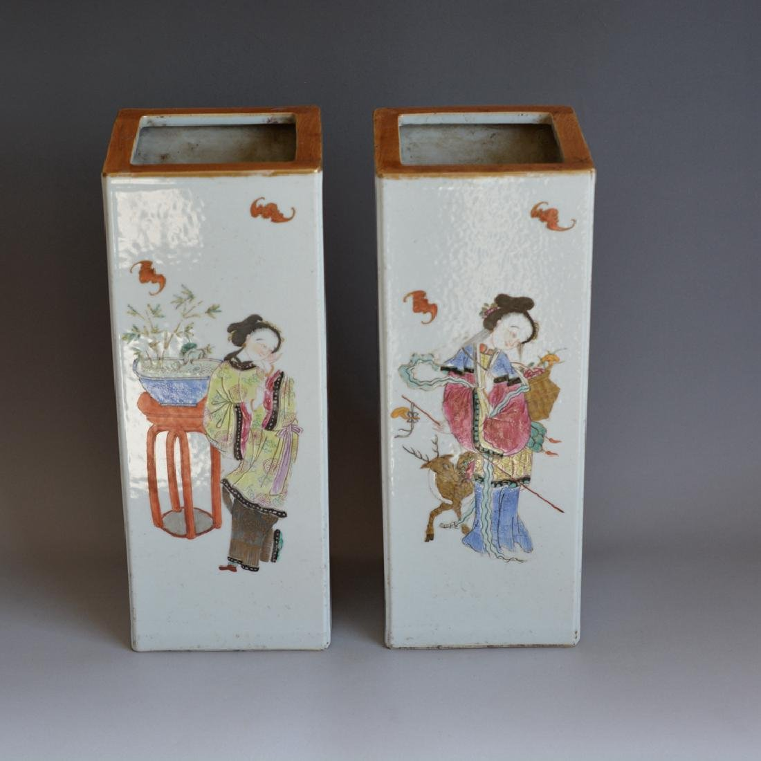Pair Antique Chinese Porcelain Famille Rose Vases - 2