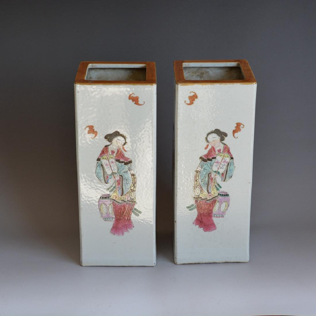 Pair Antique Chinese Porcelain Famille Rose Vases - 3