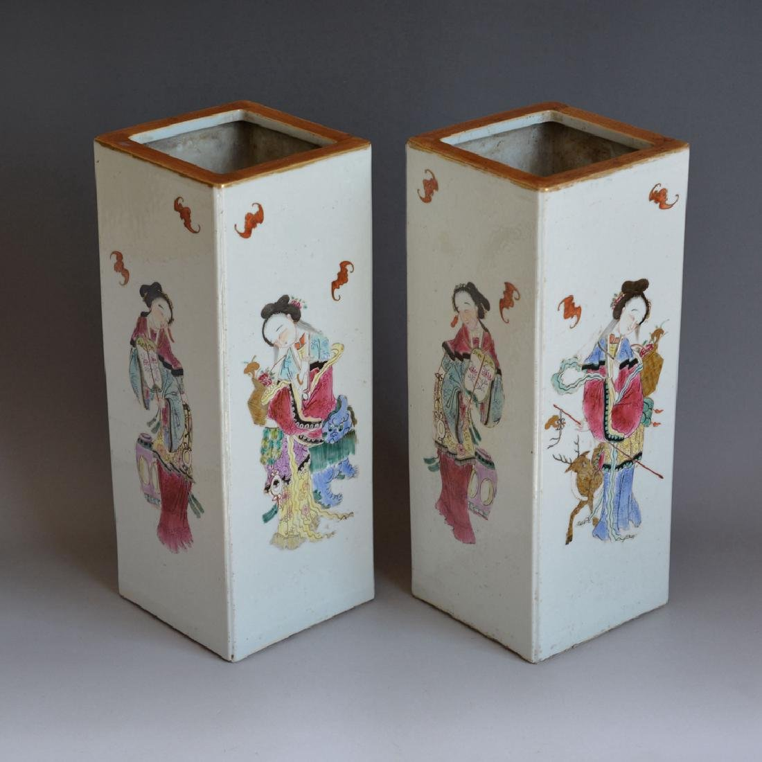 Pair Antique Chinese Porcelain Famille Rose Vases - 4