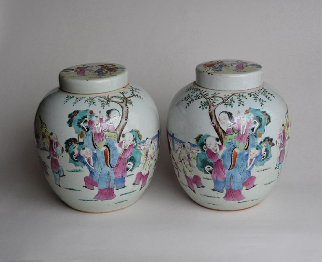 Pair Antique Chinese Famille Rose Porcelain Jars