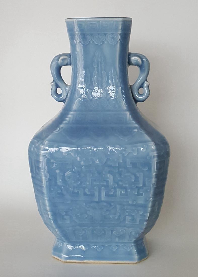 Large Chinese Porcelain Blue Glaze Vase