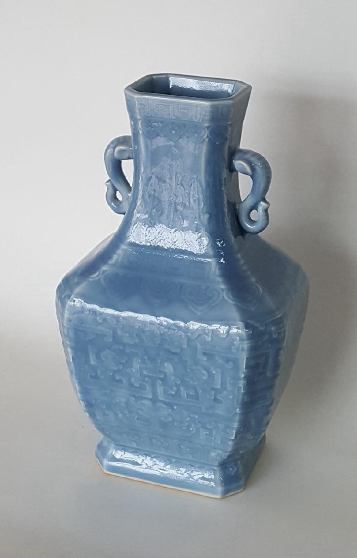 Large Chinese Porcelain Blue Glaze Vase - 5