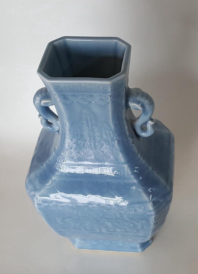 Large Chinese Porcelain Blue Glaze Vase - 6
