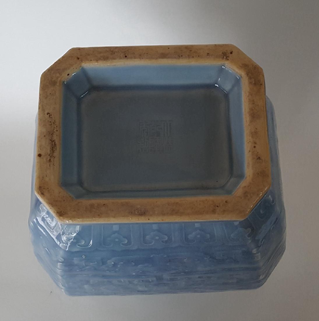 Large Chinese Porcelain Blue Glaze Vase - 8