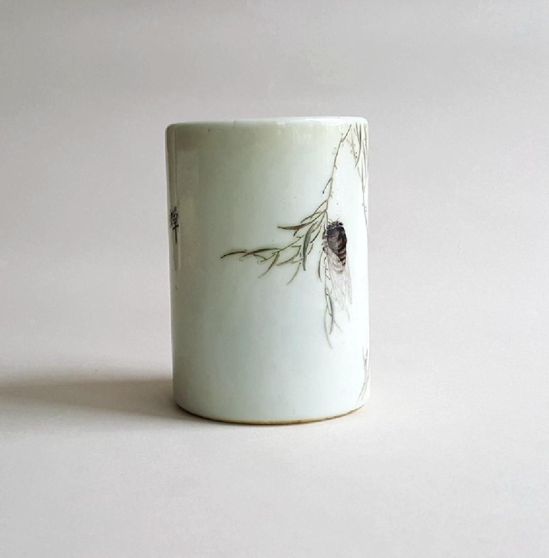 Chinese Porcelain Famille Rose Brush Pot