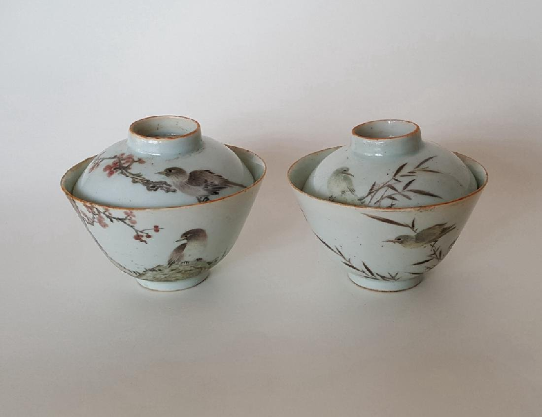 Pair Chinese Qiangjiangcai Color Porcelain Cover Bowls