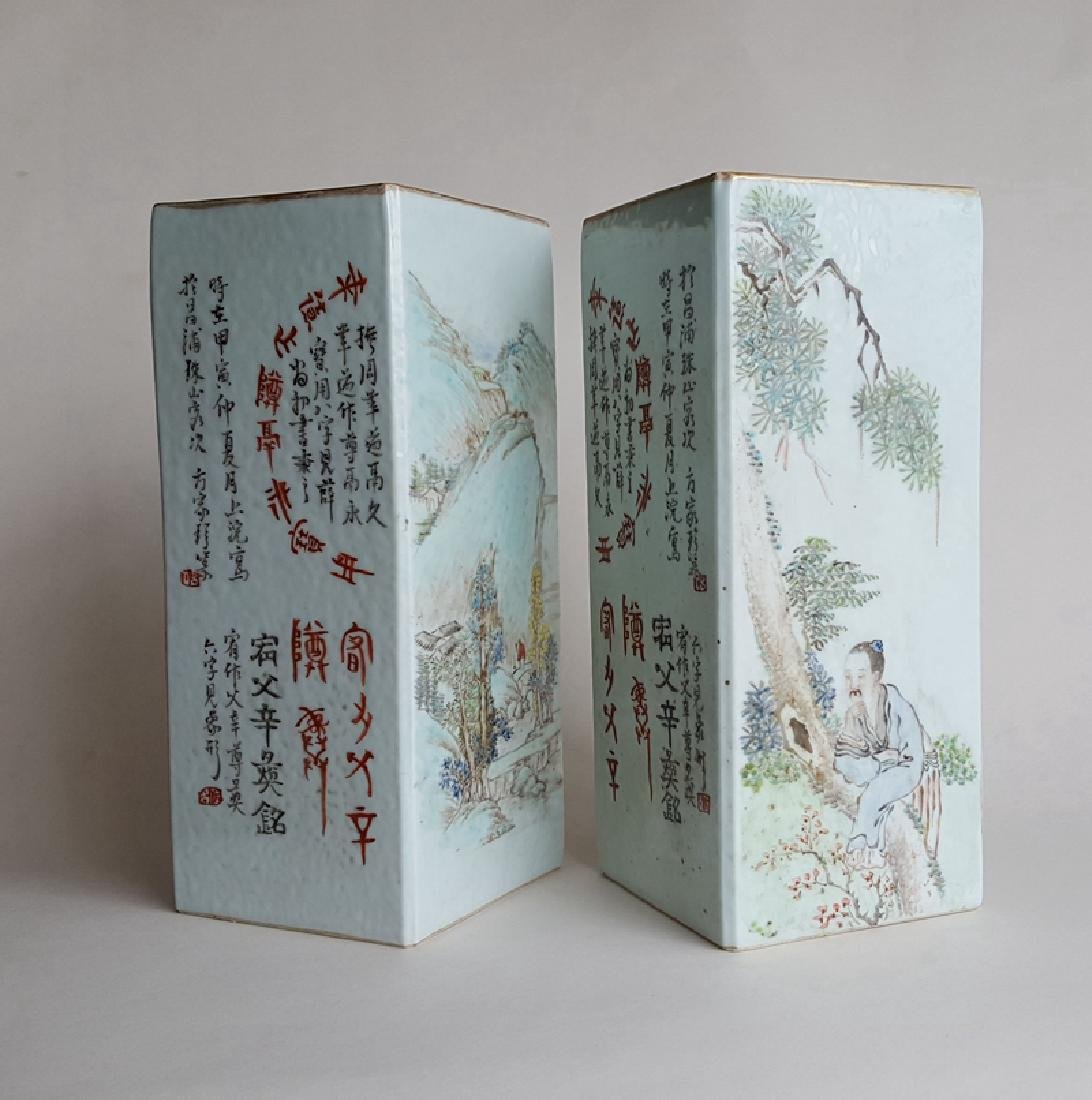 Pair Chinese Qiangjiangcai Color Porcelain Vases